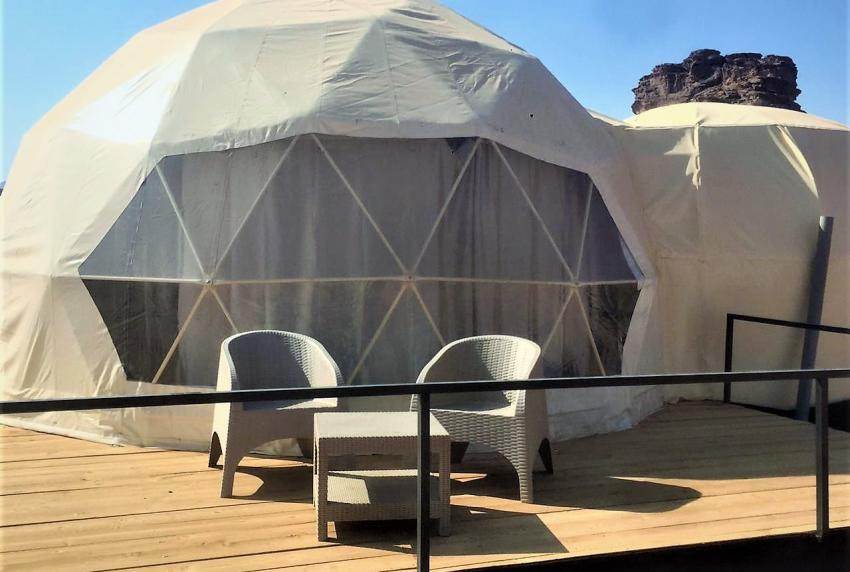 Star Tents feature a panoramic window